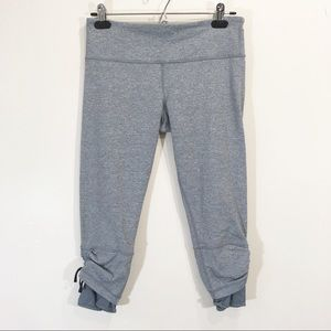 Lululemon Grey Crop Leggings Tie Ruching Size 10